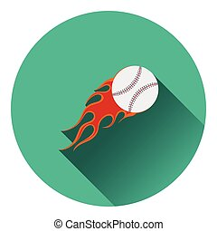 Baseball fire ball icon. Flat color design. Vector...