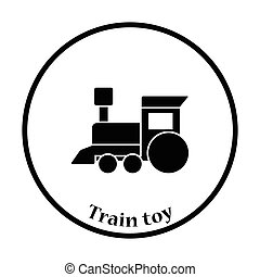Train toy icon. Thin circle design. Vector illustration.