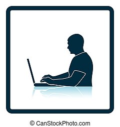 Writer at the work icon Shadow reflection design Vector...