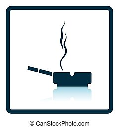 Cigarette in an ashtray icon. Shadow reflection design....