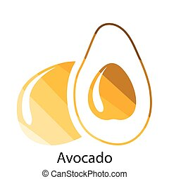 Avocado icon. Flat color design. Vector illustration.