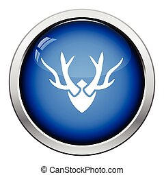 Deers antlers icon Glossy button design Vector illustration...
