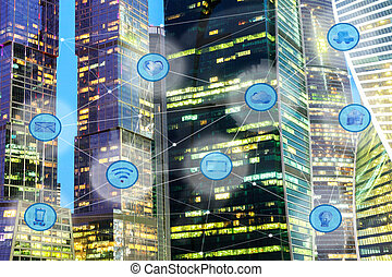 city and wireless communication network - city lights and...