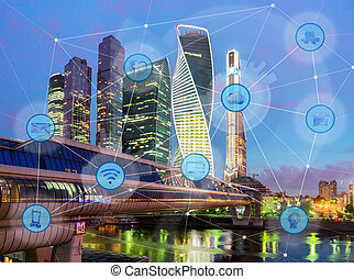 city and wireless communication network - night city and...