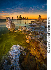 Mono Lake South Tufa after Sunset Vertical Composition -...