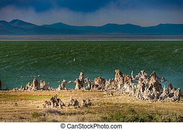 Mono Lake California - Windy Day Mono Lake South Tufa Wide...