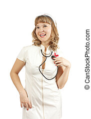 Saxy nurse - Young nurse lady posing and smiling in front...
