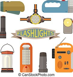 Vector set of flashlights in flat style. Design elements and icons isolated on white background. Headlight, hand lamp, torch