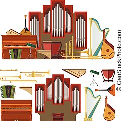 Vector set of musical instruments in flat style. Design...
