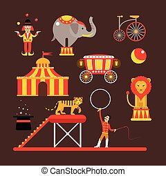 Vector set of circus artists, acrobats and animals isolated on white background.