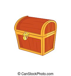 Wooden dower chest icon, cartoon style - Wooden dower chest...
