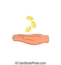 Hand and falling coins icon, cartoon style