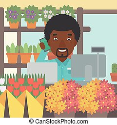 Florist at flower shop vector illustration.