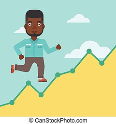 Businessman running upstairs. - An african-american...