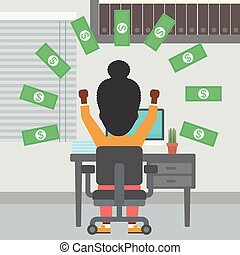 Successful business woman under money rain. - An...