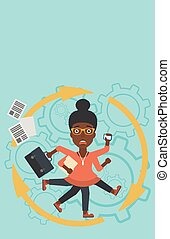 Business woman coping with multitasking - An...