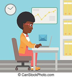 Business woman receiving or sending email. - An...