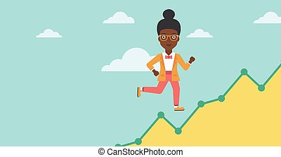 Business woman running upstairs - An african-american...