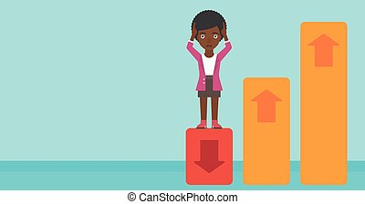 Bankrupt standing on chart going down - An african-american...