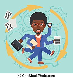 Businessman coping with multitasking - An african-american...