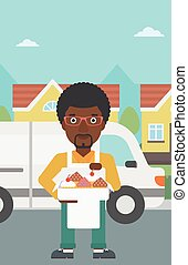Baker delivering cakes vector illustration.