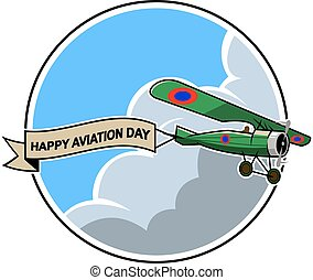 Airplane Dragging Ribboneps - Vector illustration for...