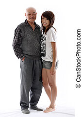 grandfather with his granddaughter - positive image of an...