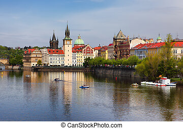 Vltava river in Prague, Czech Republic - The Old Town near...
