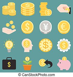 money and coins icons set