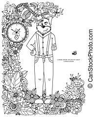 Vector illustration Zen Tangle, a dog in flower frame....