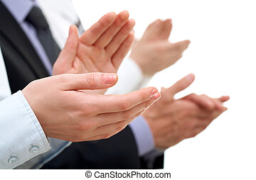 Success - Photo of businesswoman?s hands applauding at...