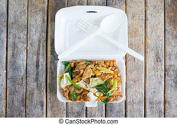 Stir soy sauce in foam box - Stir-fried Noodles in Sweet Soy...