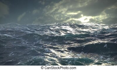 Ocean Storm - Stormy waves in open ocean