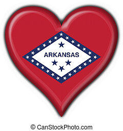 Arkansas USA State button flag heart shape - 3d made