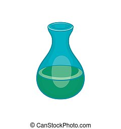 Laboratory flask icon in cartoon style