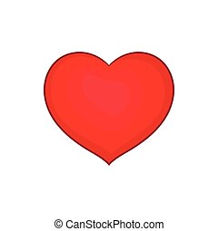 Red heart icon in cartoon style