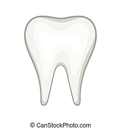 White tooth icon in cartoon style