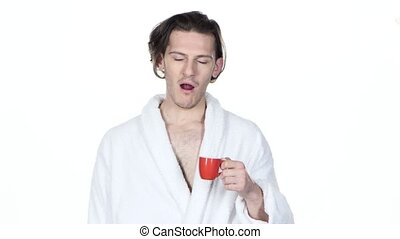 Man yawns, hair combs and drinking coffee White background -...