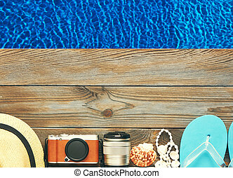 Beach items at pool - Travel and beach items at pool