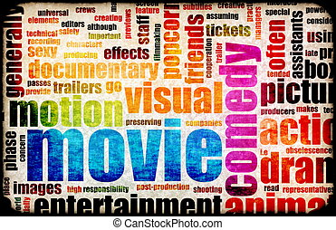 Movie Poster of Film Genres Vintage Background