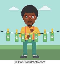 Man loundering money vector illustration - An...