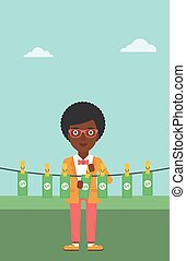Woman loundering money vector illustration - An...