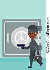 Burglar with gun near safe vector illustration. - An...