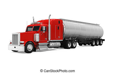 Red Fuel Tanker Truck isolated on white background. 3D...