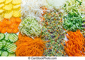 Colorful grated salad at a buffet of a restaurant