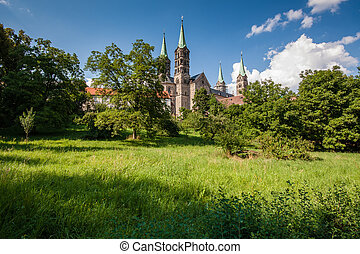 View to the famouse cathedral in Bamberg - View up to the...
