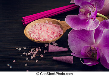 Spa and wellness setting with sea salt