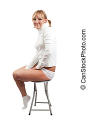 Saxy girl - Standing blonde sexy girl in white. Isolated