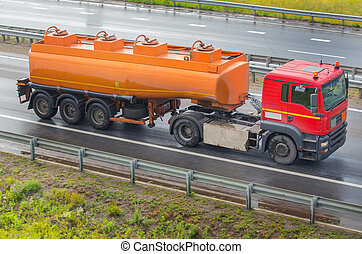 fuel tanker truck - fuel tanker track moves on highway