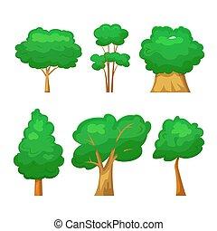 Trees set, vector illustration in cartoon style